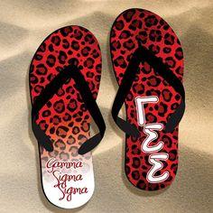 Gamma Sigma Sigma Cheetah Flip Flops