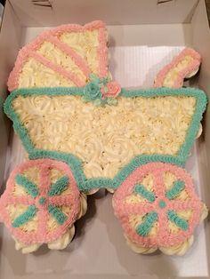 Baby Carriage cupcake cake I made.