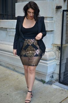 killerkurves:  nadiaaboulhosn. Sheer Gold.  Skirt - Addition Elle, Blazer - High Shoulder pad, Heels - Ankle Strap