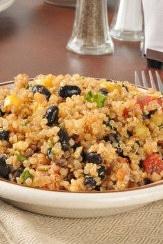 Zesty Vegan Quinoa Salad with Black Beans & Tomatoes. Delicious! I didn't have limes, so used lemons and still tasted great. I didn't use all the sauce, it was too much, so watch as you pour it in and stop when it's right for you.