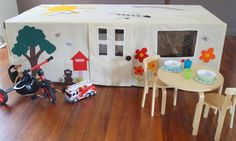 AWESOME IDEA TO MAKE YOUR OWN CUBBY BASED AROUND YOUR TABLECLOTH / TABLE AT HOME!!