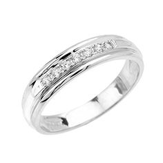 Mens 10k White Gold Diamond Wedding Band Size 125 *** See this great product.