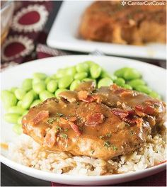 This recipe for Slow Cooker Smothered Pork Chops is an extremely tasty slow cooker pork chop recipe. Bacon, onion, brown sugar, Worcestershi...