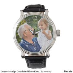 Unique Grandpa Grandchild Photo Keepsake Watch Vintage Leather, Vintage Men, Vintage Black, National Grandparents Day, Reflection Art, Grandpa Gifts, Out Of Style, Grandchildren, Watch