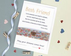 Best Friend gift card which includes a lovely quote and a beautiful Liberty of London bracelet. Perfect for gifting to a loved one or the special person in your life, this gift is sure to be very well received. The Liberty of London bracelet will arrive beautifully wrapped round the card and includes a matching envelope, ready for gifting. A truly unique and beautifully presented gift that will bring joy and smiles to whoever you gift it to, even yourself!