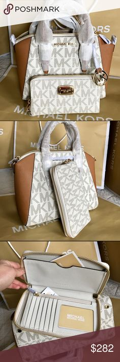 🌴Michael Kors Set🌴 100% Authentic Michael Kors Purse Crossbody and Wallet, both brand new!.😍😍😍color Vanilla/Brown. Michael Kors Bags Crossbody Bags