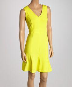 Loving this Yellow V-Neck Sheath Dress on #zulily! #zulilyfinds