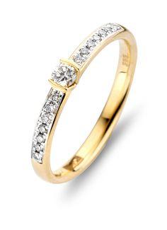 Solitair geelgouden ring