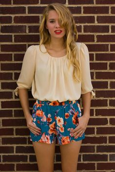 American Threads - Blue Floral Shorts