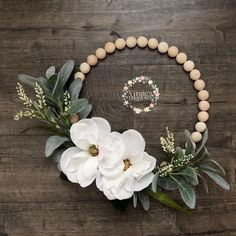 Excited to share this item from my shop: Split Wood Ball Wreath, Farmhouse Wreath, Faux Magnolia and Lamb Ears Hoo Wood Bead Garland, Beaded Garland, Diy Garland, Bead Crafts, Diy Crafts, Decor Crafts, Decoration Christmas, Fall Decorations, Seasonal Decor