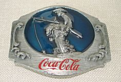 Pewter Coca-Cola Belt Buckle-Boy Fishing-1990