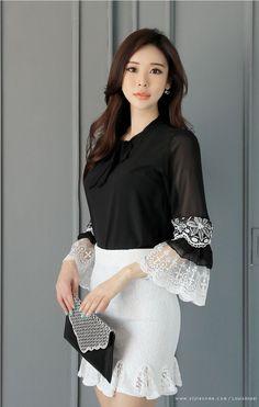 Korean Women`s Fashion Shopping Mall, Styleonme. Fashion Models, Girl Fashion, Fashion Dresses, Womens Fashion, Sleeves Designs For Dresses, Sleeve Designs, Pretty Asian, Korean Women, Classy Outfits