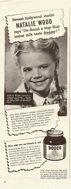 1946 Vintage ad for BOSCO~ chocolate flavored syrup~Very Young Natalie Wood | eBay