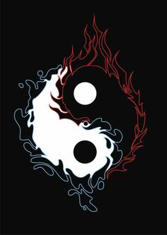a yin yang design with fire and water element around it. Originally drawn manually then trace it using CorelDraw. At first it was designed for a tattoo design purpose but after it& done I think ma. Arte Yin Yang, Ying Y Yang, Yin Yang Art, Ying Yang Wallpaper, Wolf Wallpaper, Dark Wallpaper, Yin Yang Tattoos, Foto Logo, Yin Yang Designs
