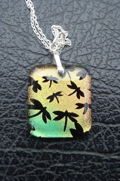 Dragonflies @ Dusk - Custom Design - Dichroic Glass - Permanent Drilled Sterling Sliver (.925) Setting & Chain by ArtworxGlassStudio on Etsy