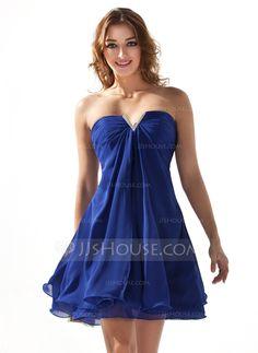 Vestidos de boas vindas - $89.99 - Vestidos princesa/ Formato A Coração curto comprimento De chiffon Vestido de boas vindas com Pregueado Bordado (022020616) http://jjshouse.com/pt/Vestidos-Princesa-Formato-A-Coracao-Curto-Comprimento-De-Chiffon-Vestido-De-Boas-Vindas-Com-Pregueado-Bordado-022020616-g20616