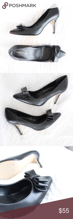 Ann Taylor Bow Heels Heels with a bow attached.  In gently used condition, no flaws.  Measurements available upon request.  All orders shipped same or next business day! Ann Taylor Shoes Heels