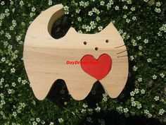 Free shipping Sweet kitty red heart Gift to the Valentine's day Wood puzzle by DayDreamToys on Etsy