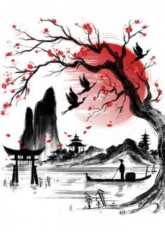 by Daisy Ingrosso. Copy the link to see more of their Japanese artwork . - by Daisy Ingrosso. Copy the link to see more of her Japanese artwork: … - Japanese Drawings, Japanese Painting, Japanese Tattoos, Poster Drawing, Painting & Drawing, Dream Painting, Art Sketches, Art Drawings, Watercolor Paintings