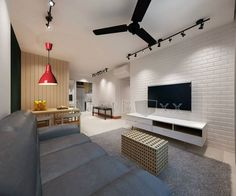 Love the black fan, lights and the red lamp against the white brick wall Small Room Interior, Small Apartment Interior, Condo Interior, Interior Design Living Room, Living Room Designs, Condo Living Room, Tiny Living Rooms, Living Room Decor, Small Living