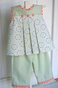 """Children's Corner """"Mallory"""" w """"Charlotte"""" pants. I love the Mallory pattern, but never thought about making it into a top. Could also put it with Becky shorts. Girls Frock Design, Baby Dress Design, Baby Girl Dress Patterns, Baby Frocks Designs, Kids Frocks Design, Toddler Dress, Toddler Outfits, Girl Outfits, Frocks For Girls"""