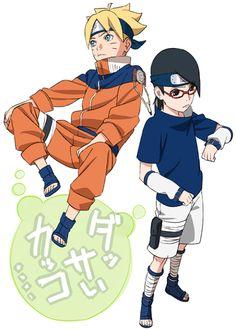 Boruto and Sarada in Naruto and Sasuke's clothes........ Um.... This..... Is..... ADORABLE!!!!!!!!!!