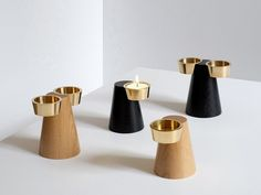 Wooden candle holder FARO By Caussa design Andreas Kowalewski Black Candle Holders, Modern Candle Holders, Diy Incense Holder, Tea Warmer, Modern Candles, Led Light Design, Modern Home Interior Design, Artwork For Home, Cosmetic Design