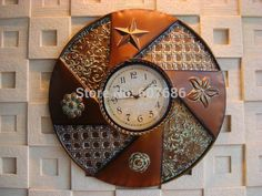 Rustic Antique Iron Round Wall Clocks Digital Clock Country Indoor Decor Metal Crafts Home Decoration Wall Decor Free Shipping