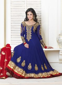 Faux Georgette Anarkali Suit With Zari Work
