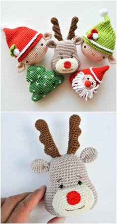Crochet Christmas Ornaments Patterns Happy New Year Crochet Christmas Decorations, Crochet Christmas Trees, Crochet Decoration, Crochet Ornaments, Holiday Crochet, Crochet Crafts, Crochet Projects, Christmas Crafts, Felt Christmas