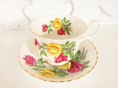 Vintage Royal Albert Red Yellow Rose Teacup White Bone China England