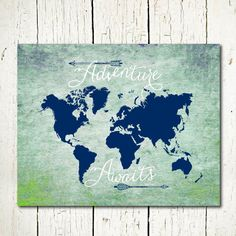 Printable world map decor with arrows design in navy blue and shades of mint green, on a textured background. Instant, digital download. ITEM