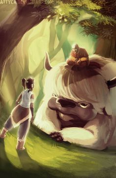 Korra visits Aang and Appa in the Spirit World by *Attyca on deviantART