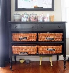 each kid has a basket. items that get picked up around the house go in the basket for who it belongs to. it is then the kids job to empty their basket and put their things away. someday in a bigger house i will do this. Repurposed Furniture, Painted Furniture, Diy Furniture, Recycled Dresser, Redoing Furniture, Antique Furniture, Old Dressers, Dresser Drawers, Dresser Ideas