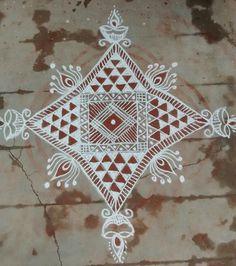 Indian Rangoli, Kolam Rangoli, Beautiful Rangoli Designs, Kolam Designs, Alpona Design, Padi Kolam, Floor Art, Art N Craft, Simple Rangoli