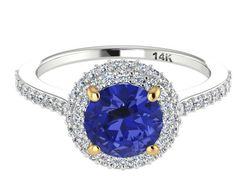 Natural Tanzanite and Diamonds Engagement ring, Perfect Proposal ring, Diamond alternative engagement ring, two tone Solid Gold Bridal ring by BridalRings on Etsy https://www.etsy.com/listing/253379645/natural-tanzanite-and-diamonds