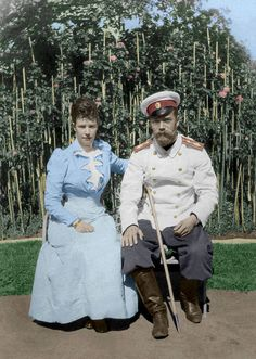 Tsar Nicholas II in the rose garden with the Dowager Empress Marie (his mother)