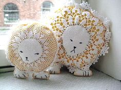turn old doilies into charming lion pillows
