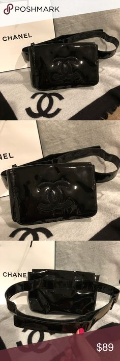 Authentic NWOT Chanel Patent Makeup Fanny Pack Bag Authentic NWOT Chanel VIP Faux Patent Leather Black Fanny Pack Waist Belt Bag!!  Size: 21*3*13.5cm Belt Length 102cm (Velcro Strap)  100% Authentic. Black Faux Patent Leather, very shiny, fleece Chanel Logo at front, interior with Chanel monogram layer.  VIP gift, does not come with authen card, hologram sticker.  Hard to find & VERY RARELY giving from Chanel Counter. Waist Bag is must have item this year! Many Celebrities carry them! Very…