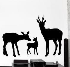 Wall Vinyl Decal Deer Happy Family Animals Nature Home Interior Decor z4074