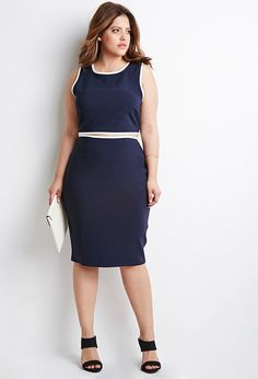 Plus Size Contrast-Trim Pencil Skirt