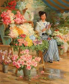 View The flower seller by Sergei Marchenko on artnet. Browse upcoming and past auction lots by Sergei Marchenko. Victorian Paintings, Victorian Art, Classic Paintings, Beautiful Paintings, Painting People, Romantic Flowers, Art Themes, Love Art, Female Art