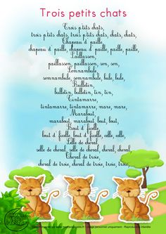 Lyrics_Three little cats French Poems, French For Beginners, French Kids, French Education, French Classroom, French Lessons, Montessori, Teaching French, Kids Songs