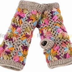 Oslo Crochet Handwarmer/Fingerless Gloves - Brown / Multicolor