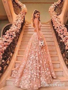 3f7af3d21dd Halter Backless Pink Lace Prom Dresses Two Piece Floral Formal Dress  ARD2019-SheerGirl Prom Dresses. Prom Dresses Two PiecePlus Size ...