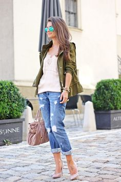 FashionHippieLoves: my perfect boyfriend jeans and Zara military parka