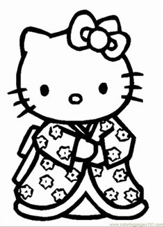Printable colouring sheet with Hello Kitty. Color Hello Kitty in one of her less common outfits, an oriental styled Kimono dress. Color Hello Kitty in her unique dress that look as if it is filled with Sakura Flowers. Beach Coloring Pages, Princess Coloring Pages, Coloring Pages To Print, Free Coloring Pages, Printable Coloring Pages, Hello Kitty Colouring Pages, Cat Coloring Page, Cartoon Coloring Pages, Coloring Pages For Kids