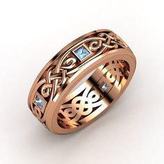 The Brilliant Alhambra Knot Band #men's #customizable #jewelry #rosegold #bluetopaz #ring