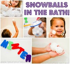 "Ping pong balls and a small snowman added bubbles and  the ping pong balls which were ""snowballs."" White shaving cream into a little plastic container to be the snow drift and the fun kept going! Hide snowballs, counted them, have a snow ball fight {bouncing them against the wall}"