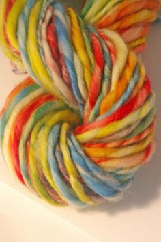 Rainbows end Hand spun yarn . Hand painted by misterstiltskin